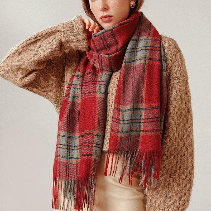 Cashmere Women Winter Scarf Scotland Classic Red Plaid Scarves Soft Fashion Casual Warm Shawl Luxury Designer Ladies Shawl