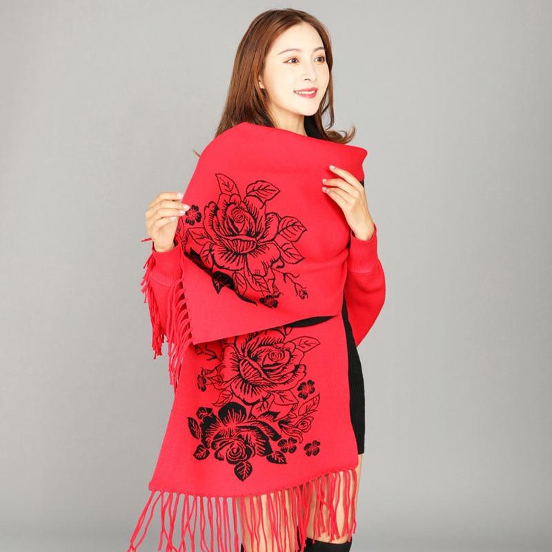 Bufandas artificiales de Cachemira Pashmina para señora chales jacquard Cachecol femenino Mujer Bufanda caliente Mantilla Chal largo palium