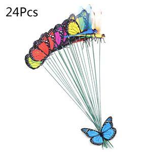 24Pcs (20xButterfly +4xDragonfly) Artificial Butterfly Decorations Garden Yard Lawn Patio Outdoor Art Ornaments Random E7CC