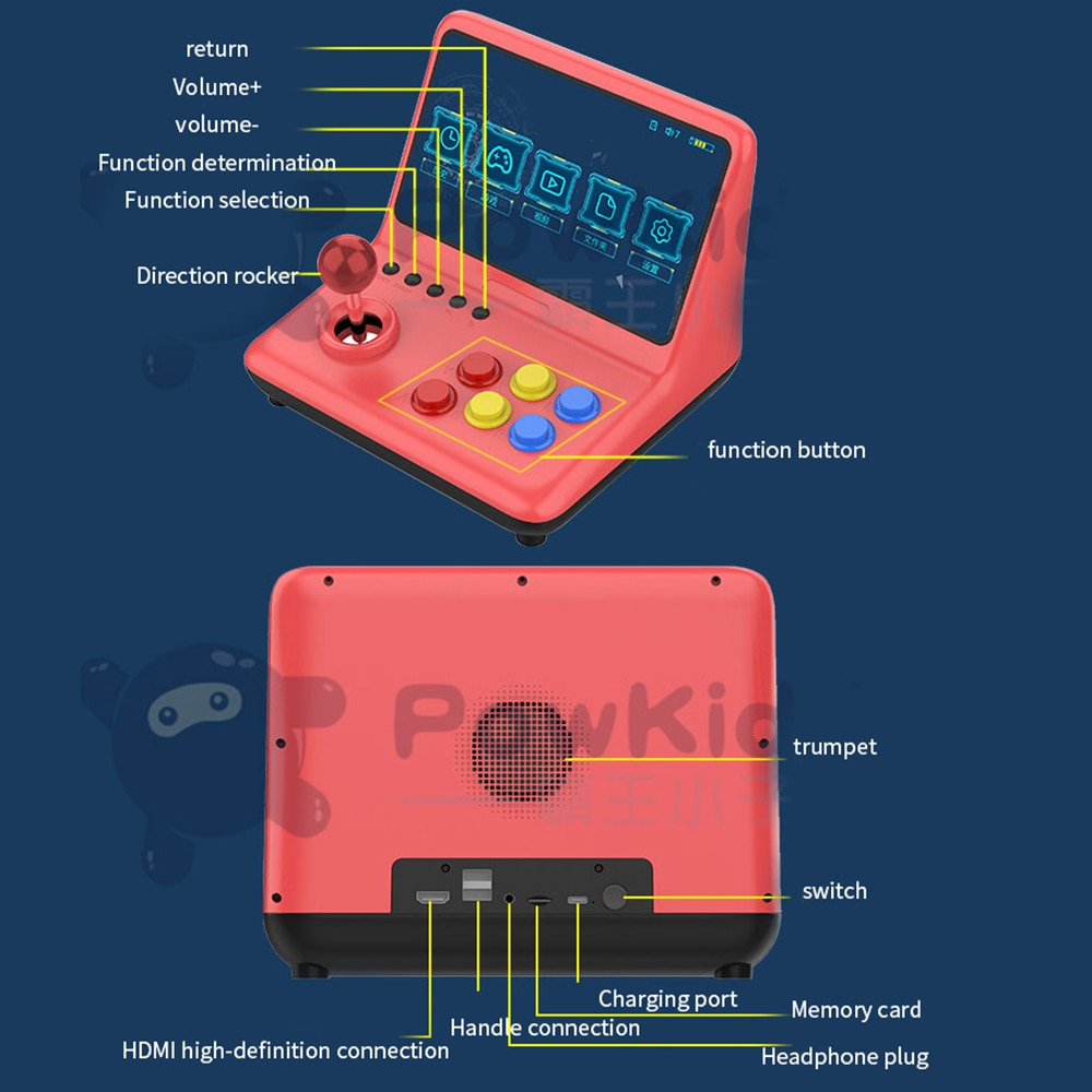 Large Screen 9-Inch Joystick Game Console A12 Retro Arcade Ps1 Game Console Nostalgic Old-Fashioned Double Handheld enlarge