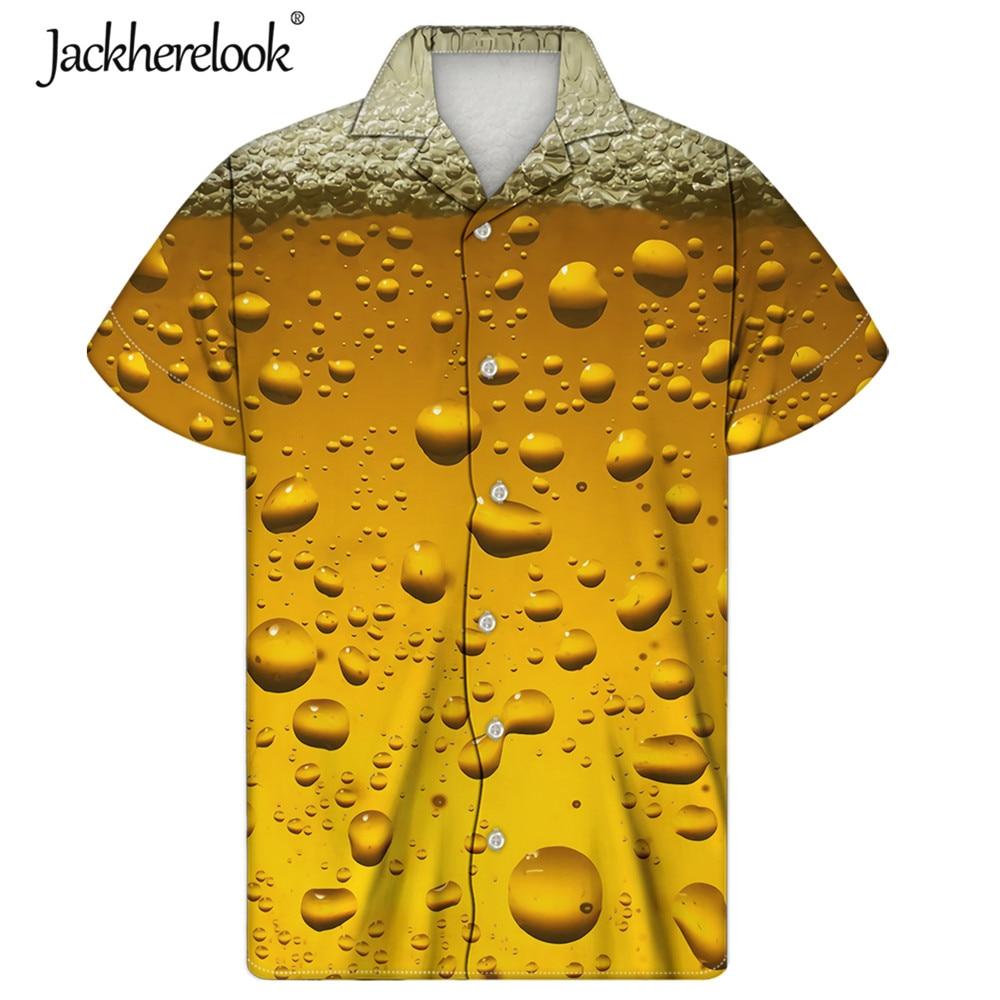 Jackherelook-camisas hawaianas de talla grande para Hombre, Tops de diseño de cerveza,...