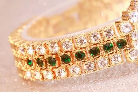 Woman Watches Quartz Ladies Watch Diamonds Bracelet Watch Green Stone Gold Waterproof Montre Femme Montre Rhinestone Wristwatch enlarge