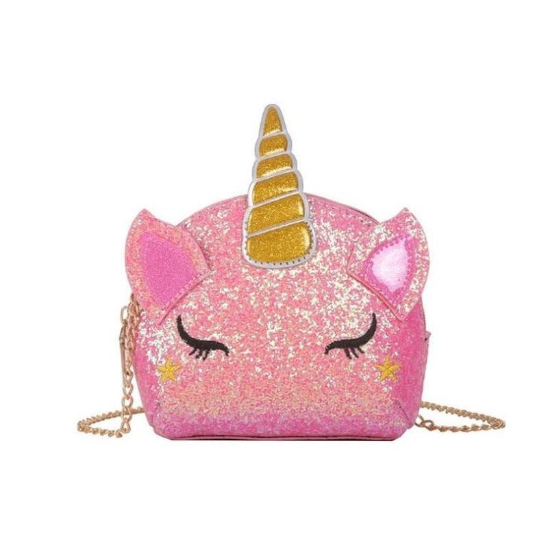 Fashion Unicorn Bag for Girls Travel Women Cartoon Printing Shoulder Bags Sequins Leather Wallet Clutch Crossbody Bolsa Mini