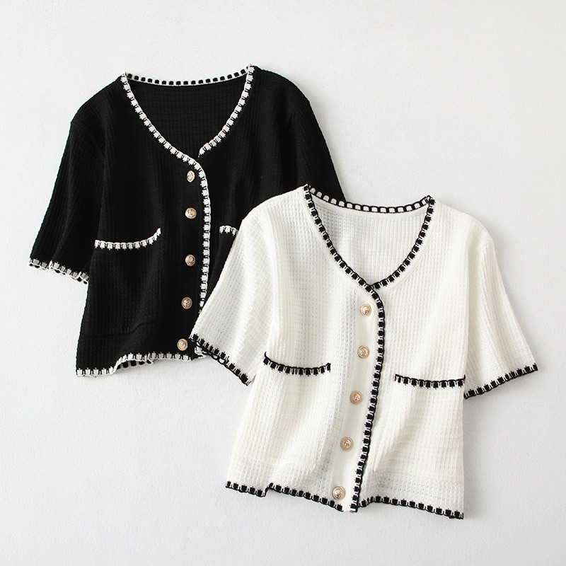 Zoki Fashion Women Cardigan Sweater Summer Knitted Short Sleeve Sexy V Neck Elegant Single Breasted Female Black White Thin Tops