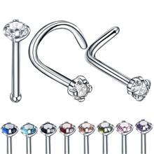 1PC acier 20G 2mm Zircon gemme os nez Piercing boucle doreille couleur mélangée L forme nez anneau broche CZ vis Piercing bijoux