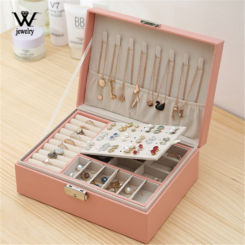 WE New High Capacity Leather Jewelry Box Travel Jewelry Organizer Multifunction Necklace Earring Ring Storage Box Women Gifts