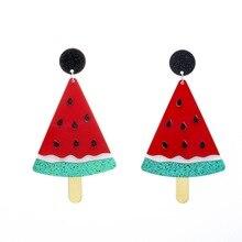 QIGO-boucles doreilles pour femmes, grandes boucles doreilles rouges en forme de pastèque, bijoux de Hip Hop, en acrylique, pour boîte de nuit