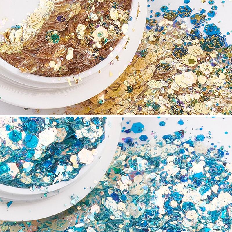 1 Box 3D Glitter Mermaid Sequins Nail Flakes Mixed Mirror Hexagon Spangles Slices Paillette DIY Nail Art Decorations