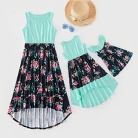 mother daughter floral patchwork famuly dress women girls summer sleeveless dresses mommy and me family matching outfits