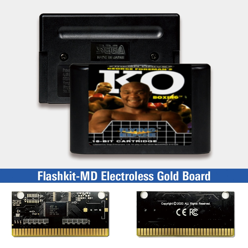 George Foreman's KO Boxing - EUR Label Flashkit MD Electroless Gold PCB Card for Sega Genesis Megadrive Video Game Console