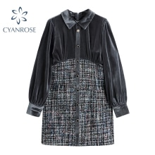 Tweed Spliced Flannel Dresses Women Office Lady Long Sleeve Spring 2021 Work Lapel Button Vestidos E