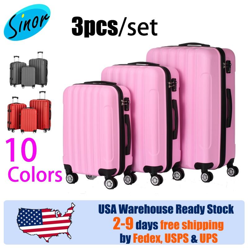 【Sinor】Yes, 3pcs per set 3-in-1 Multifunctional Large Capacity Traveling Storage Suitcase Pink