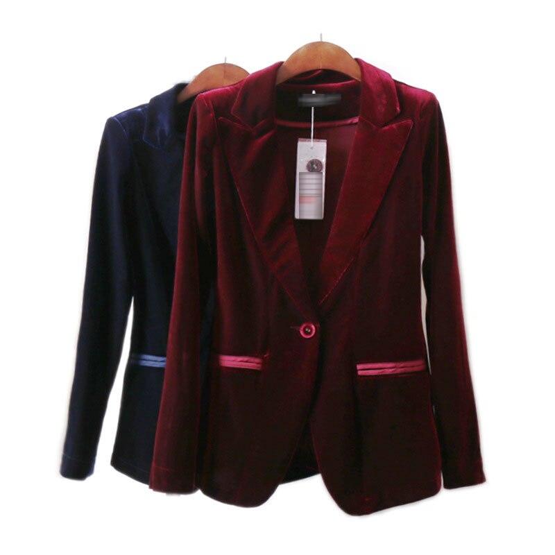Alta calidad 2020 nuevo terciopelo de las mujeres chaqueta Blazer Negro Azul elegante dama trajes chaquetas abrigos de talla grande de manga larga traje de oficina chaquetas