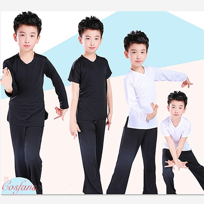 Ropa para Danza Latina para niño ropa de ejercicio de baile Ruffly escenario de baile moderno para niños de baile latino ropa de entrenamiento Camisa + Pantalones conjuntos