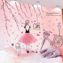 [Shijuekongjian] bande dessinée fille Stickers muraux vinyle bricolage pêche fleurs vélo Stickers muraux pour enfants chambres bébé chambre décoration