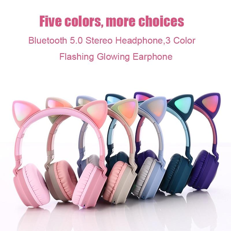 Bonitos auriculares Oreja de Gato LED, auténticos auriculares inalámbricos plegables, Auriculares Bluetooth con micrófono, compatibles con tarjetas TF para teléfonos, portátiles