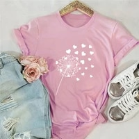 summer plus size tshirt women new heart dandelion print t shirt 100cotton women shirts o neck short sleeve tees streetwear tops