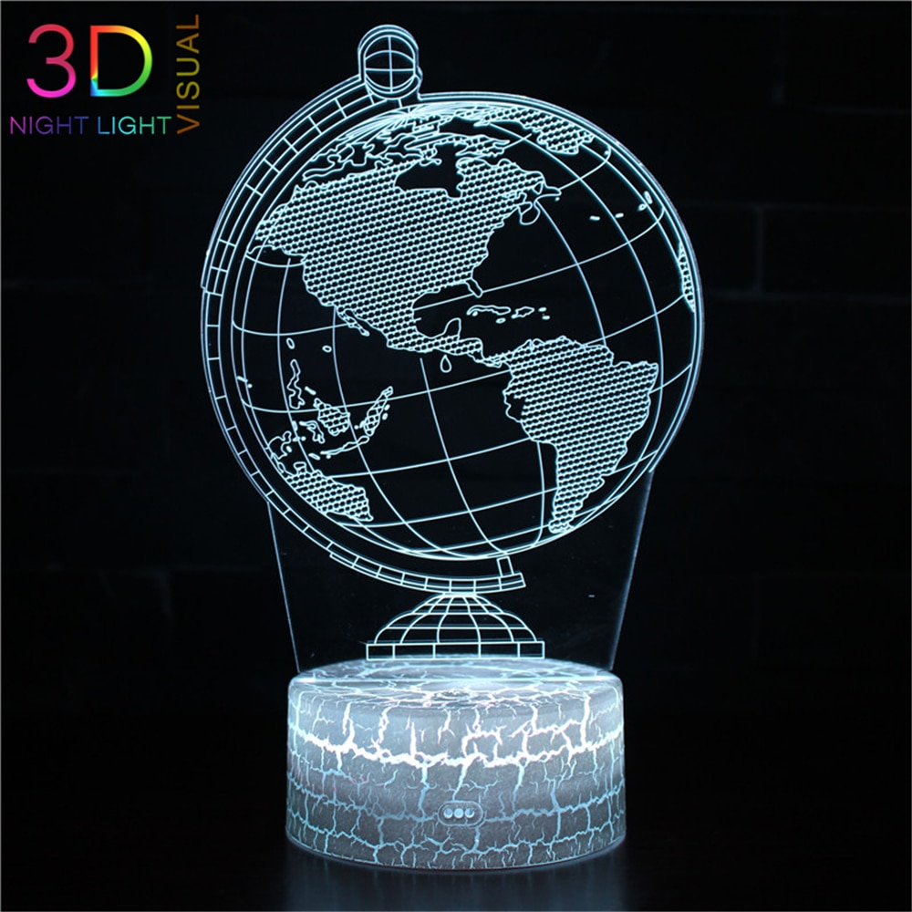 Atoph globo terrestre design 3d night light 16 mudança de cor led nightlight