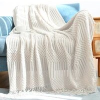 woven textured throw blanket with tassels handmade farmhouse decorative boho blanket soft cozy blanket for bed sofa couch