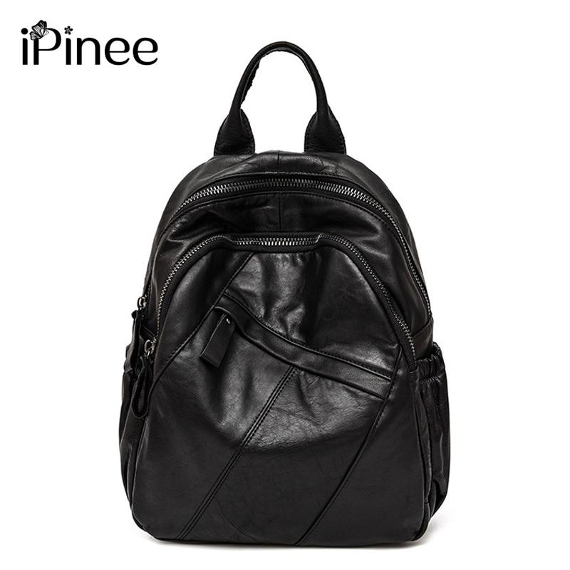 IPinee-حقيبة ظهر نسائية من الجلد الطبيعي ، حقيبة كتف ، متعددة الوظائف ، عصرية ، للبنات