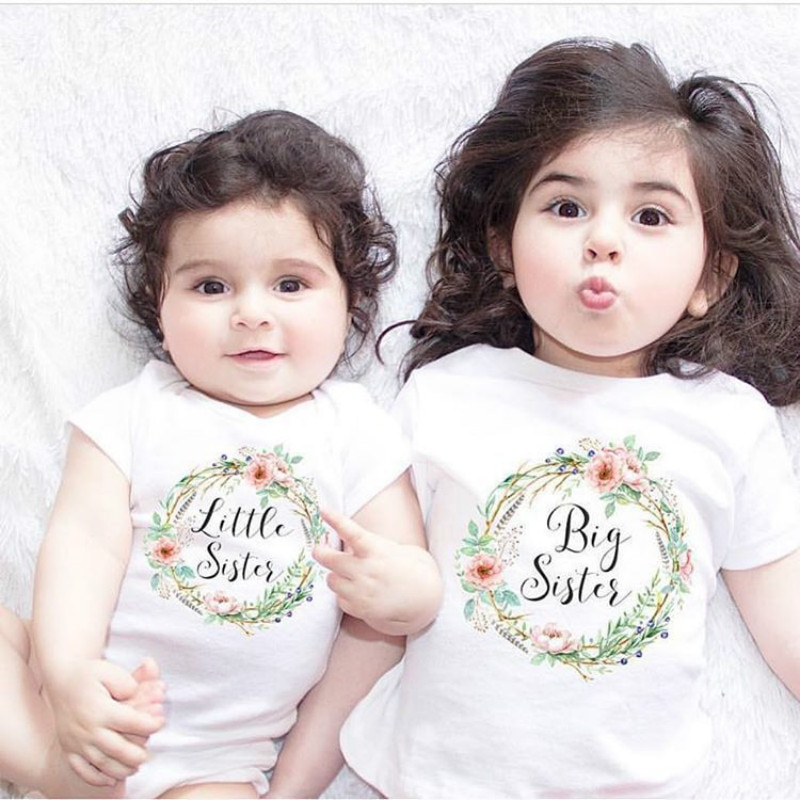 Family Matching Outfits Children Summer Baby Kids Girl Little Big Sister Match Clothes Bodysuit Jump
