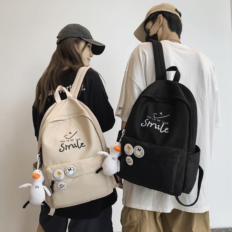 Фото - Schoolbag Pure Color Backpack 2021 New Fashion Lightweight School and Primary School Students bag for girls Couple Backpack 2021 four piece set primary school students grade 3 6 junior high school students color contrast backpack hand bag fashion