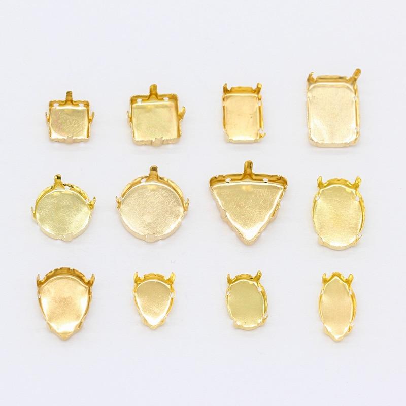 30p ronda/Pera/Oval/rectángulo/triángulo/cuadrado/navette cabujón joyas de oro blanco garras Ajuste de diamantes de imitación de cristal para coser