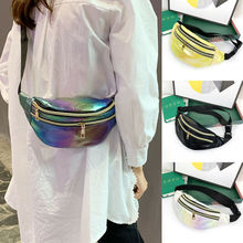 Sacos de cintura chique design fanny pacote moda cinto bolsa de banana pacotes de cintura feminina cinto saco arco-íris laser peito telefone bolsa