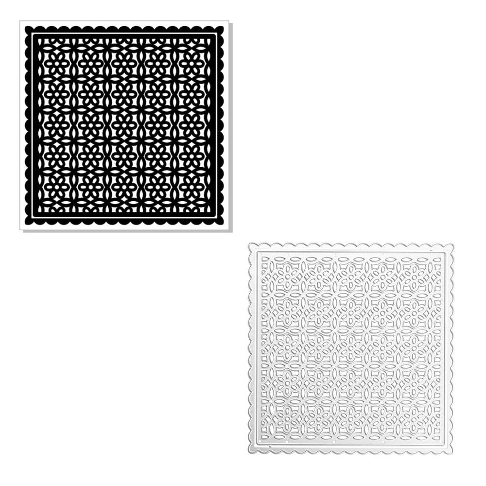 DiyArts Hollow Flower Frame Metal Cutting Dies Background Embossing Mold Craft Mandala Stencil Templates for Diy Scrapbooking
