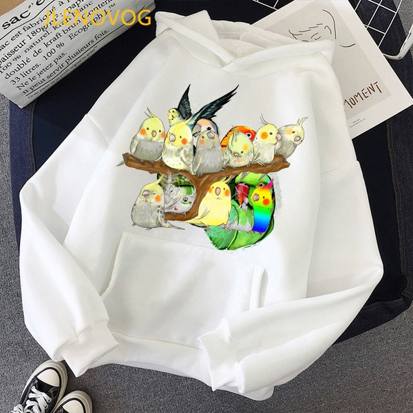 Lovely rainbow birds Cockatiel Parrot print pink hoodies women clothes 2020 cute birds graphic sweatshirt femme kawaii tracksuit girls rainbow print sweatshirt