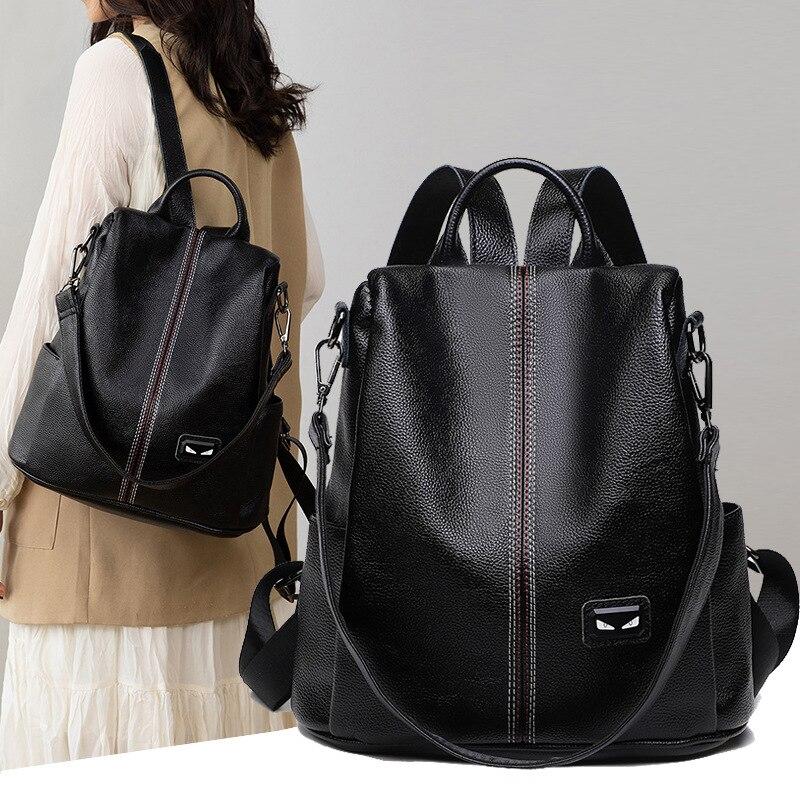 المرأة جلدية على ظهره متعددة الوظائف سستة على ظهره الفتيات في سن المراهقة على ظهره حقيبة كتف الطالب الاسلوب المناسب المدرسية