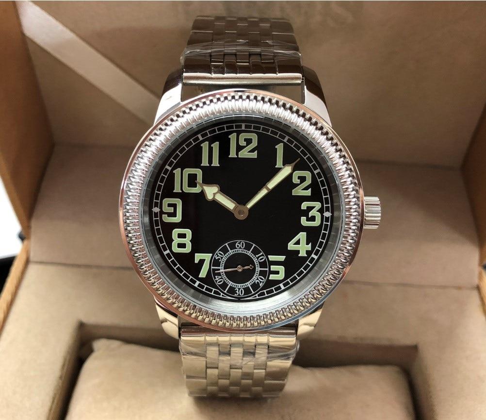 44 مللي متر GEERVO الأسود الهاتفي الآسيوية 6497 17 جواهر اليد الميكانيكية الرياح حركة ساعة رجالي مضيئة ساعات آلية GR06-21
