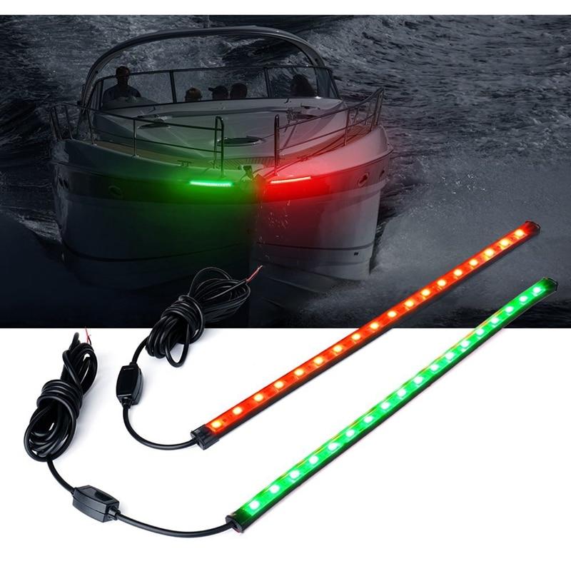 12 pulgadas LED rojo y verde navegación barco luz tiras Kit riel Rub impermeable para Bass Boats, pontones, corredores de olas, Kayaks, esquí