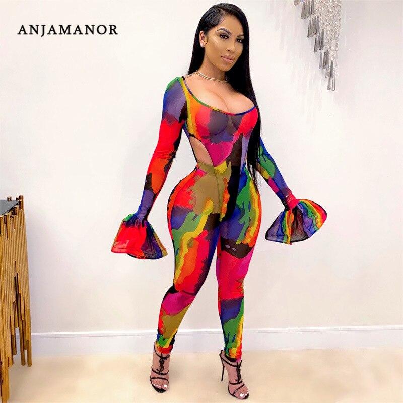 Conjunto de dos piezas de malla transparente con estampado de Tie Dye de anjamedy, mono y Leggings de manga larga para otoño de 2020, trajes de Club Sexy de 2 uds D37-DA25