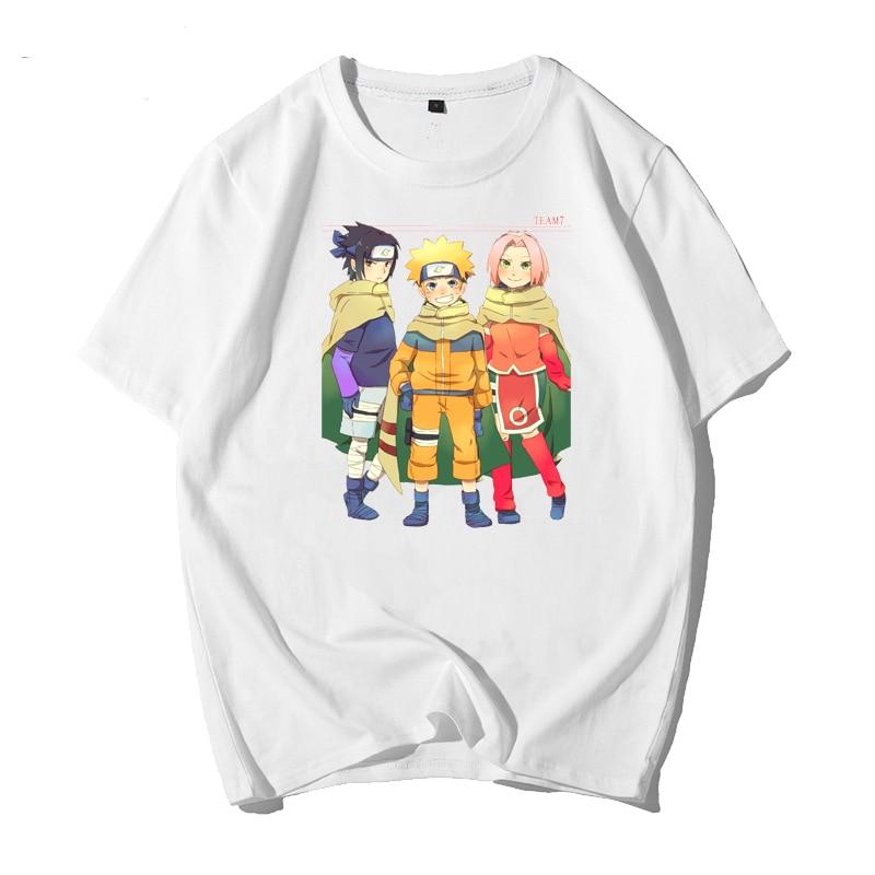 Camisetas de dibujos animados japoneses Naruto anime Naruto Sakura Sasuke Impresión digital verano Camiseta de algodón puro ac1524
