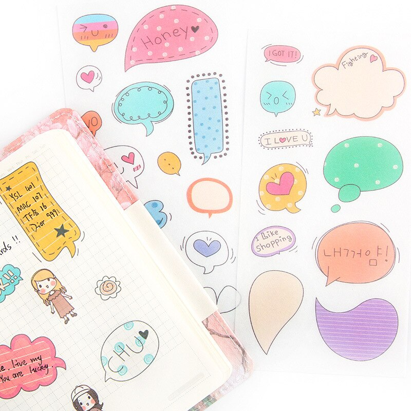6Sheets/Pack Cute Dialog box Decoration Scrapbooking Stickers Transparent PVC Stationery Diary Stickers