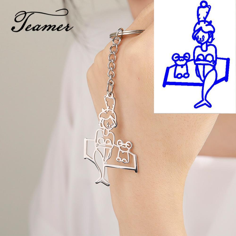Llavero con imagen personalizada con logotipo de marca, llavero de acero inoxidable con dibujo para niños, llavero personalizado con personalización de foto