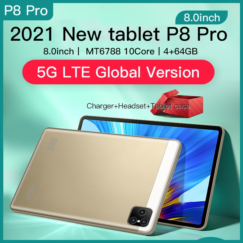2021 new 10 8 inch tablet pc android 8 0 deca core 2560 1600 ips display 4gb 64gb tab 13mp camera 4g lte network tablet android Android 10 Tablet 8.0 Inch 1280 x 800 Tableta Octa Core 4GB RAM 64GB ROM Tablets 4G Network 13MP Rear Camera 5000mAh Tablets PC