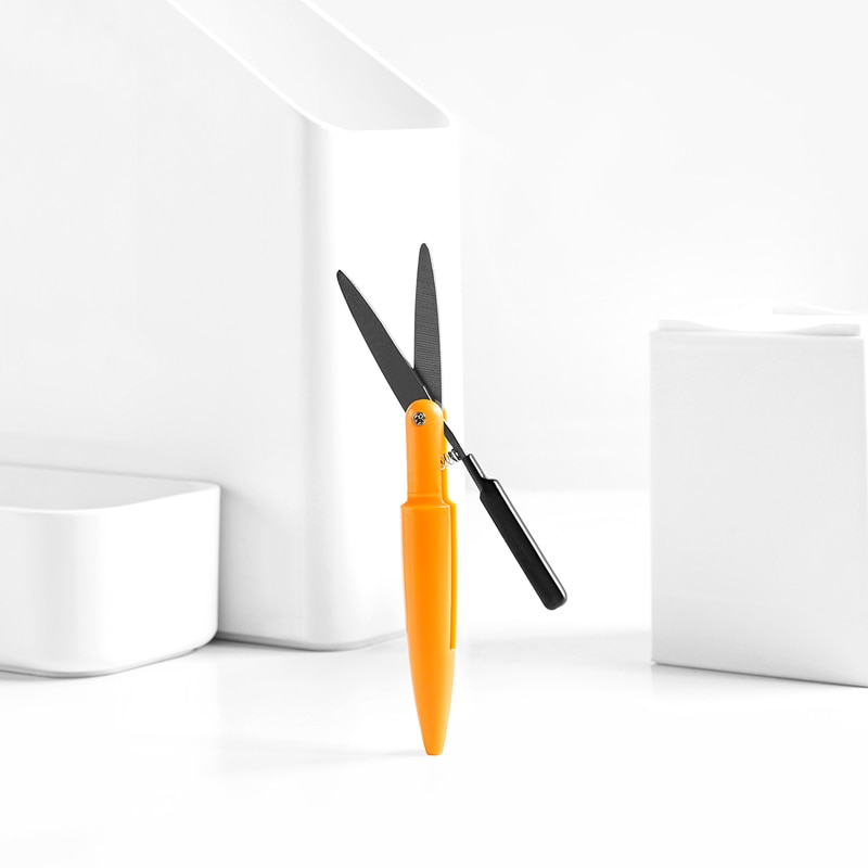 Fizz portátil de acero inoxidable de auto-bloqueo tijeras de seguridad pluma tijeras cuchillo de costura Manual tijeras 6 colores