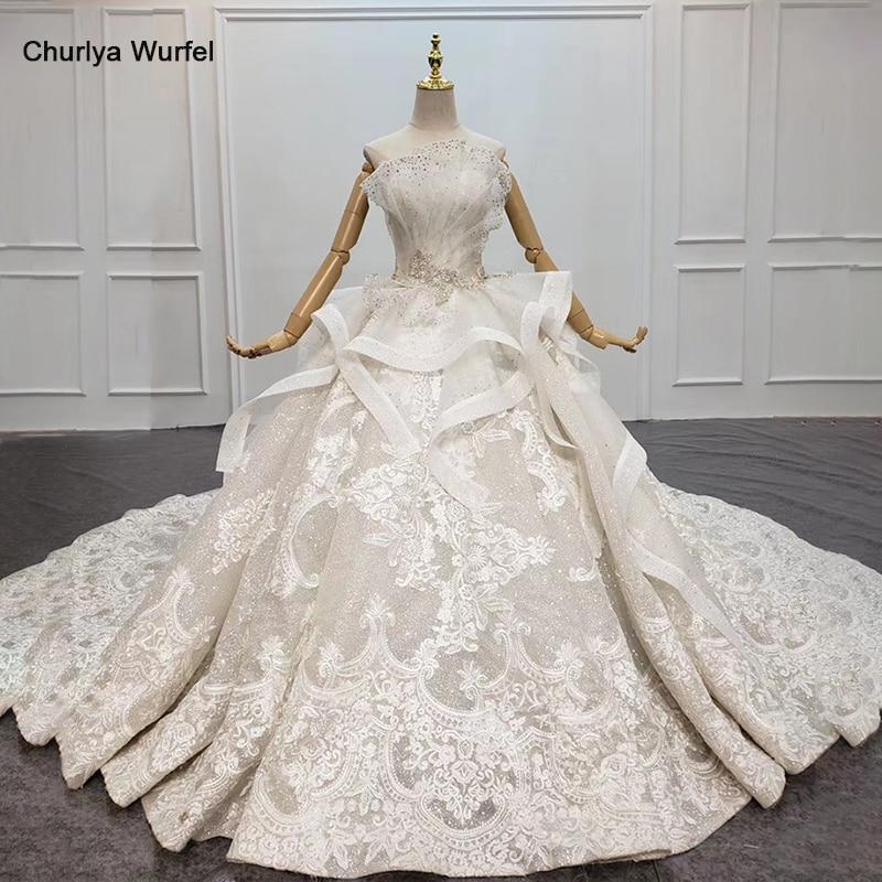 HTL1468 Instagram Hot Wedding Dress Brides Strapless Lace Wedding Dress Beading Luxury Robe De Mariee