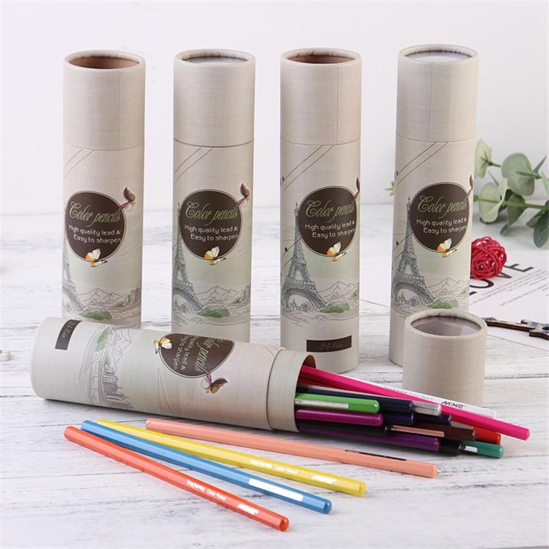 Creativo nuevo barril 24 colores lápiz de dibujos animados color lápiz estudiante pintura graffiti pluma