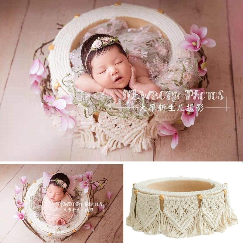 Accesorios de fotografía para recién nacidos, cesta de borlas bohemias para sesión...