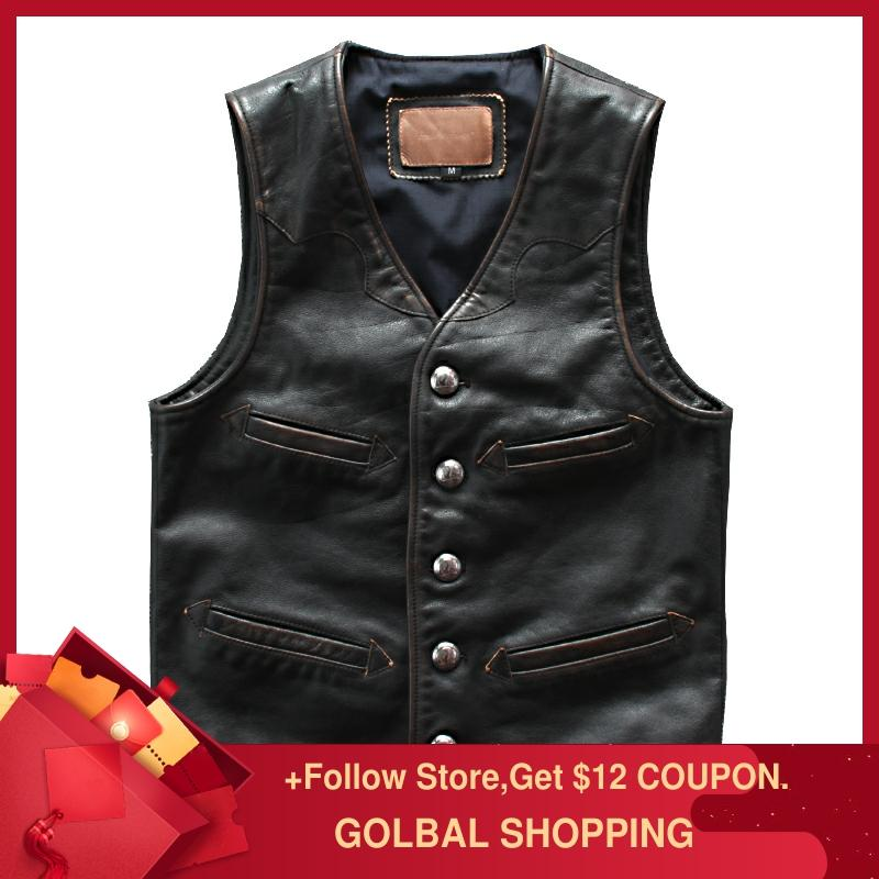 2019 dos homens do vintage preto estilo americano fino ajuste colete de couro plus size 6xl genuíno primavera curto motociclista colete
