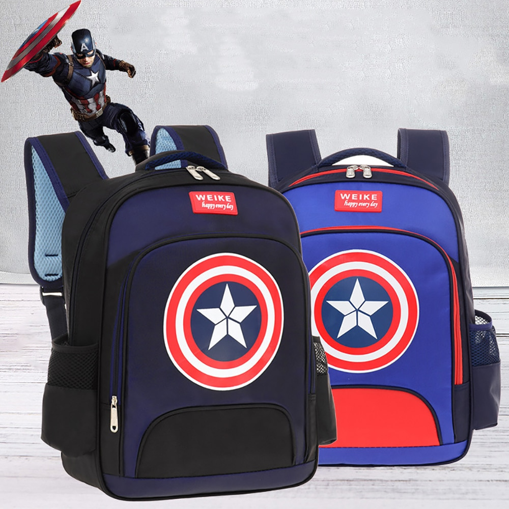 Фото - Disney Child School Bag Primary School Students Reduce The Burden Of 1-3-6 Grade Bags Marvel Cartoon Captain America Backpack 2021 four piece set primary school students grade 3 6 junior high school students color contrast backpack hand bag fashion
