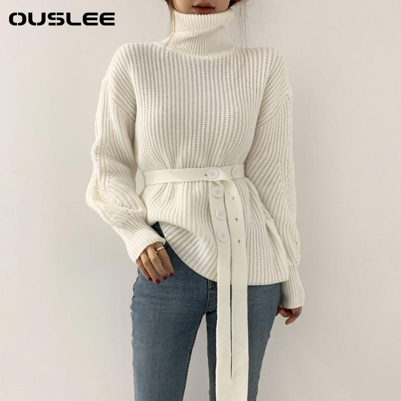 Шикарный свитер OUSLEE, женские вязаные пуловеры с высоким воротником, топы, женские утепленные теплые свитера с рукавами-фонариками, модная ж...