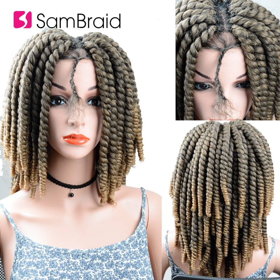 SAMBRAID DIY Crochet Braids Hair Lace Synthetic Hair Wig Passion Spring Twist Braiding Hair Ginger Lace Front  Wigs For Women