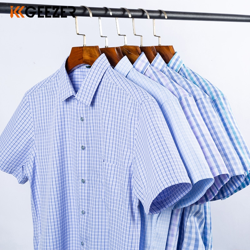 Men Shirt Plaid Short Sleeve Dress Striped Formal Shirt 2020 Summer Casual Slim Fit Pocket High Quality Business Dropshipping