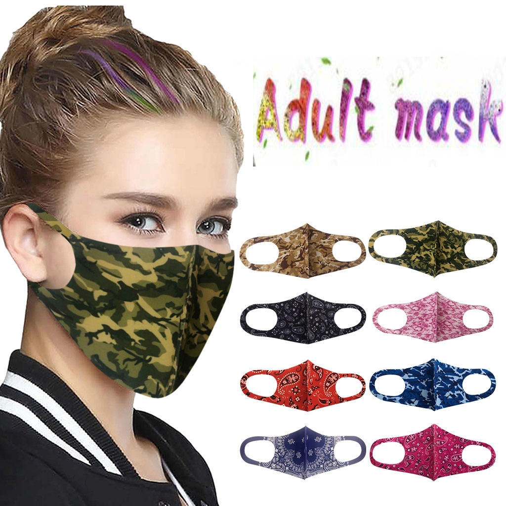 Rosto adulto mak adulto multi-color impresso gelo seda rosto mak lavável haze rosto mak lavável rosto-mak de tela hijab lenço rosto