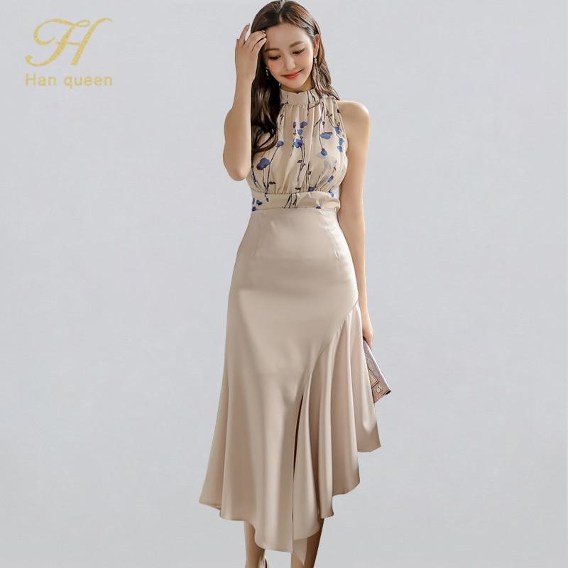H Han Queen nuevo conjunto de 2 piezas, camisas de verano estampadas, blusas y faldas de volantes de cintura alta, traje de oficina elegante coreano para mujer