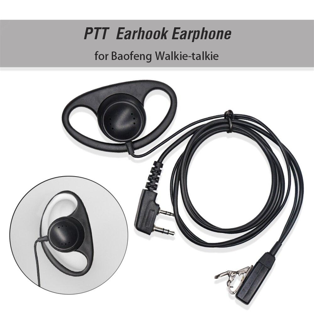 2 Pin D-Shape Covert Ear Hook Earpiece MIC PTT Mic Headset Earphone For Kenwood For Baofeng BF-888S UV-5R UV-82 Walkie Talkie
